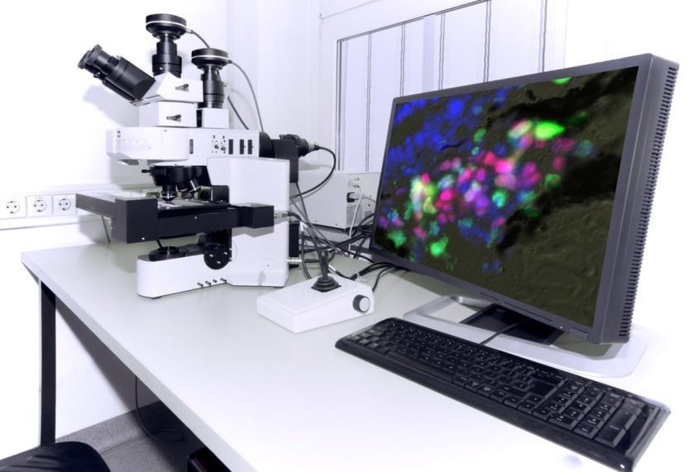 Modern microscope equipped with digital camera, computer and monitor. Antibody tests concept.
