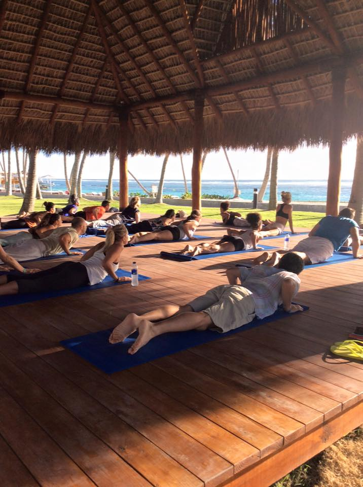 yoga on the beach at club med in punta cana