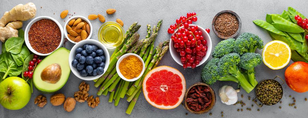 Liver Health - Fresh Fruits, vegitables, juices, apple cider vinegar and olive oil