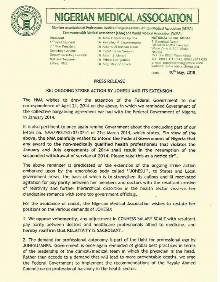JOHESU strike: NMA officially opposes health workers