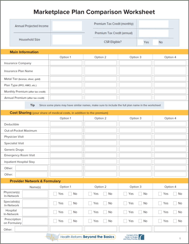 Plan Comparison Worksheet English Amp Spanish
