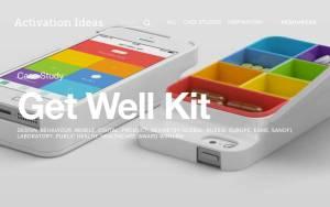 """Ein Beispiel für eine medienübergreifende Kampagne: Sanofi-Aventis entwickelte ein iPhone-Case, das als Pillenbox fungiert. Zusammen mit der passenden App wurde das """"Get Well Kit"""" in den sozialen Medien promotet."""