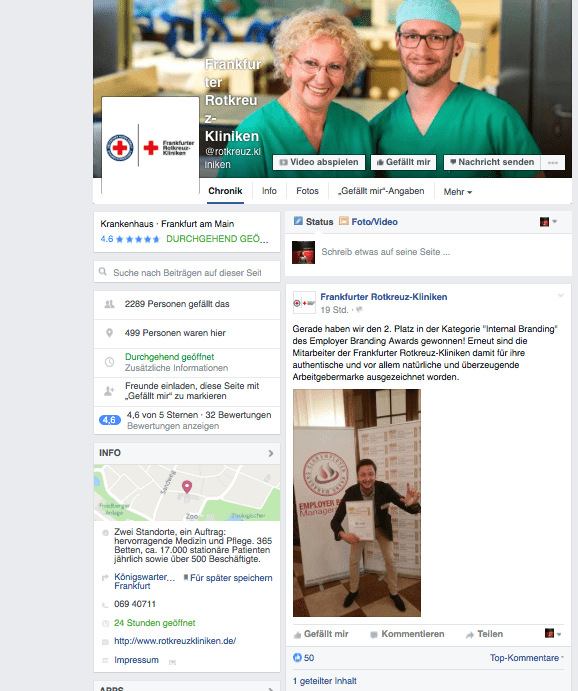 Beispiel für eine regelmäßige Posting Frequenz auch bei nicht aktueller Personalsuche: die Facebook-Seite der Frankfurter Rotkreuz-Kliniken.