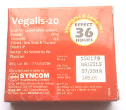 vegalis 20 mg tablet price in india