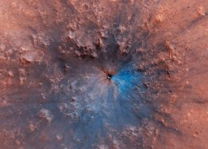 NASA's MRO Spotted A Mysterious, Blue Crater On Mars