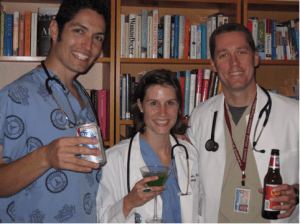 Dr. Ryan Greysen, pictured on right, in a hypothetical photo demonstrating what type of online physician behavior could prompt state boards to investigate. (Image used with permission by Dr. Ryan Greysen.)