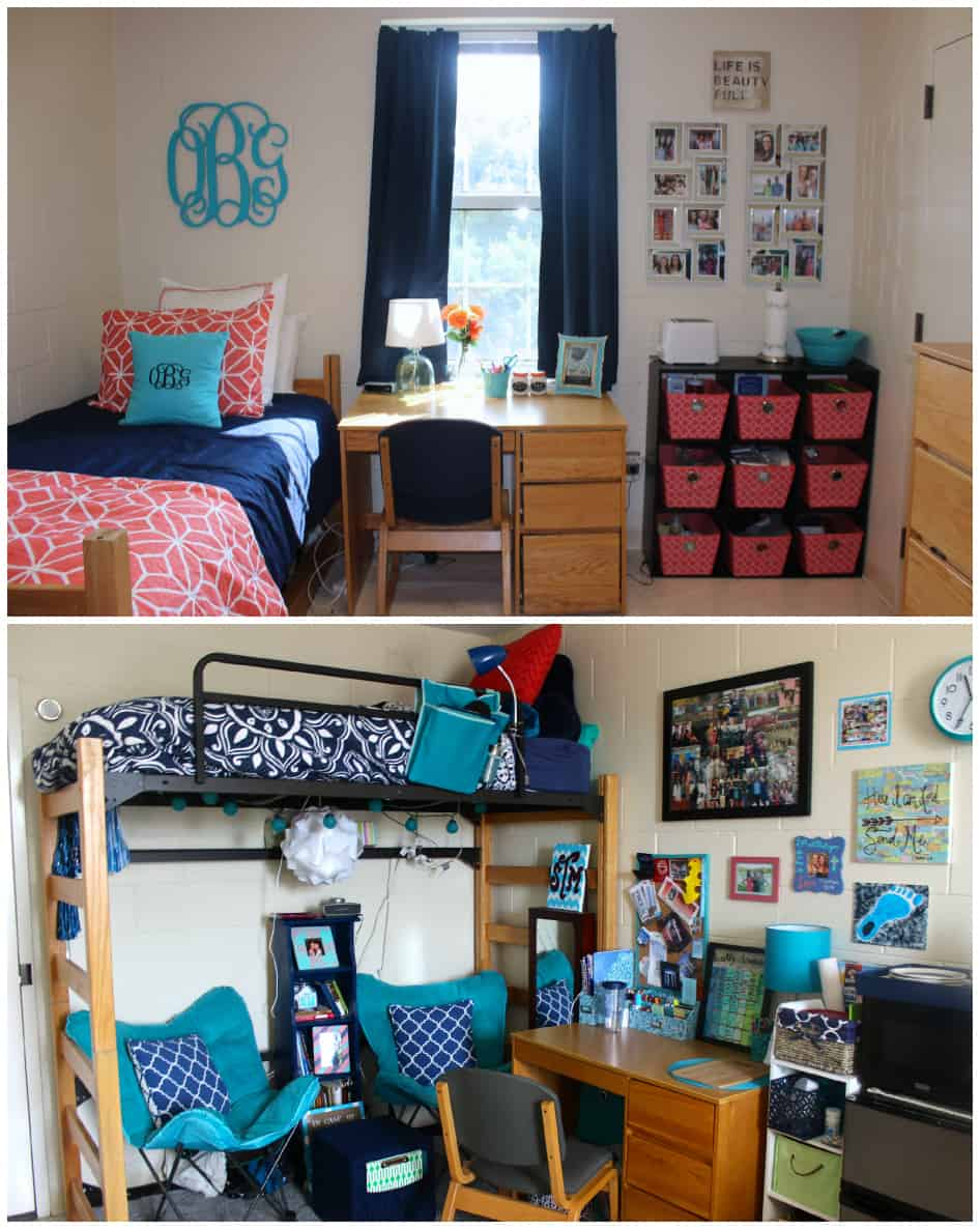 navy and turquoise dorm room - Dorm