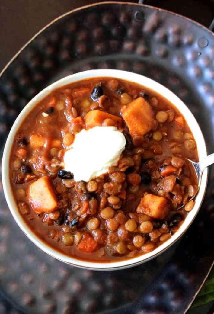 Sweet Potato Black Bean Amp Lentil Vegetarian Chili