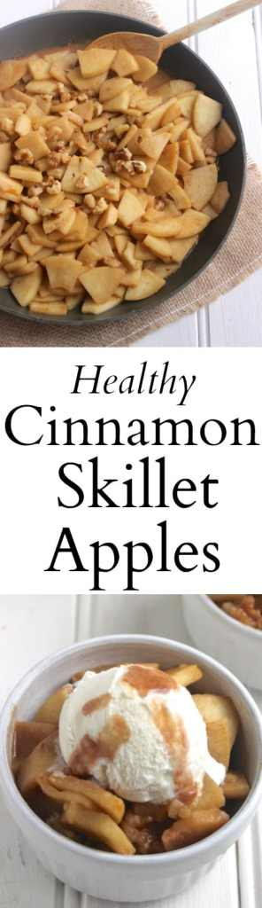 A healthy apple dessert (no butter or sugar added!) that takes just one skillet. Serve with natural vanilla ice cream for a healthier treat!