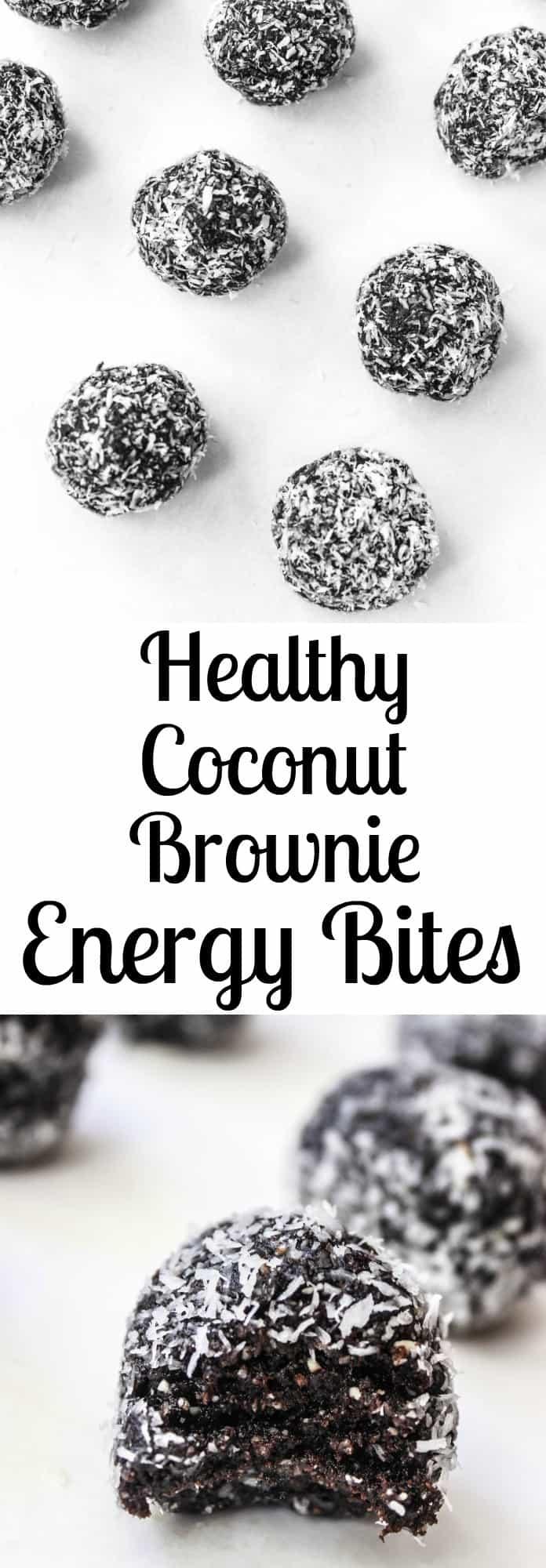 Dark Chocolate Coconut Fudge Brownie Energy Bites- a delicious healthy snack or dessert!
