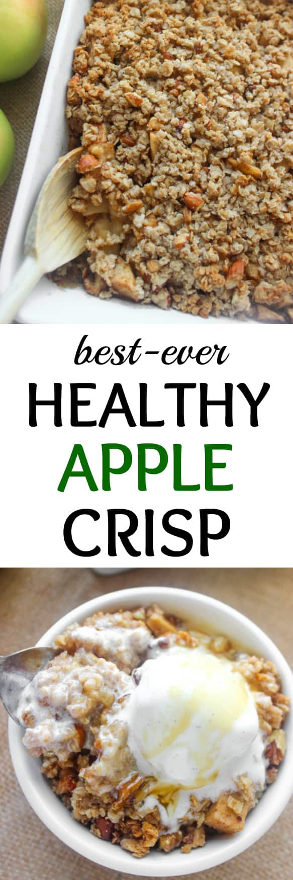 The BEST healthy apple crisp with crumbly topping! Top with vanilla ice cream and you'll be in heaven | healthy-liv.com