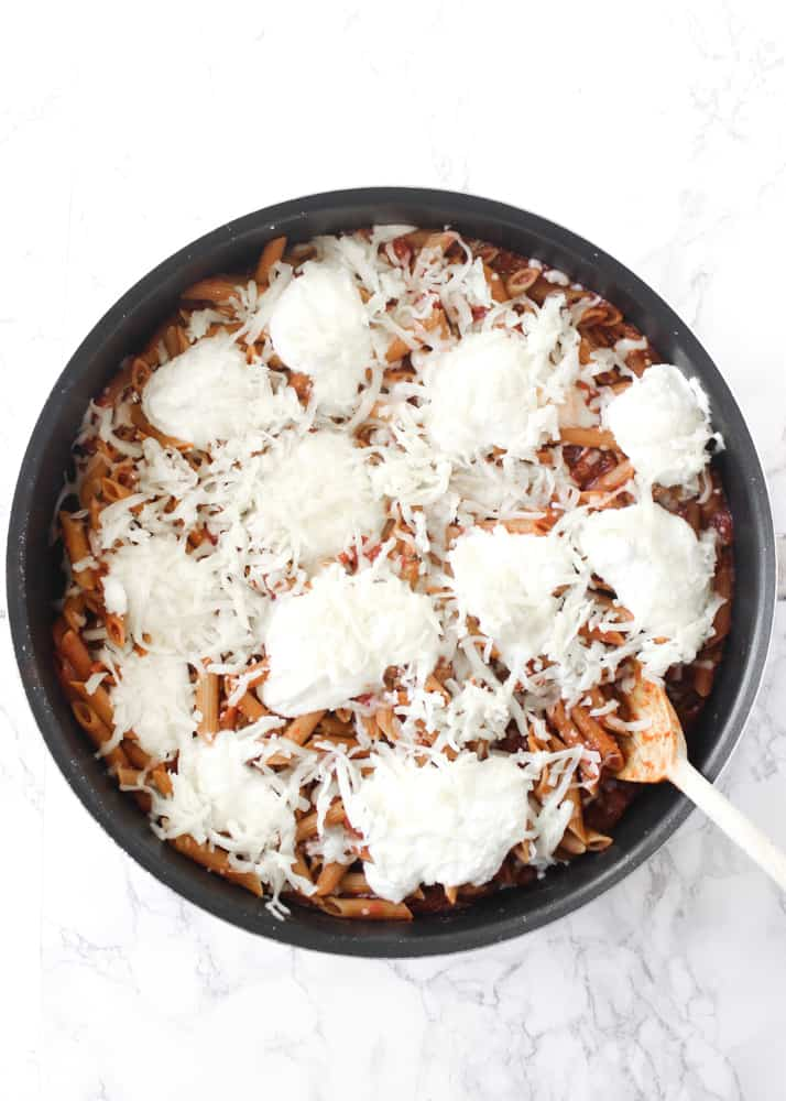 An easy, cheesy, one-skillet baked ziti that's ready in under 30 minutes
