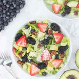 Red, White, & Blue Berry Salad with Candied Nuts & Lemon Poppyseed Dressing