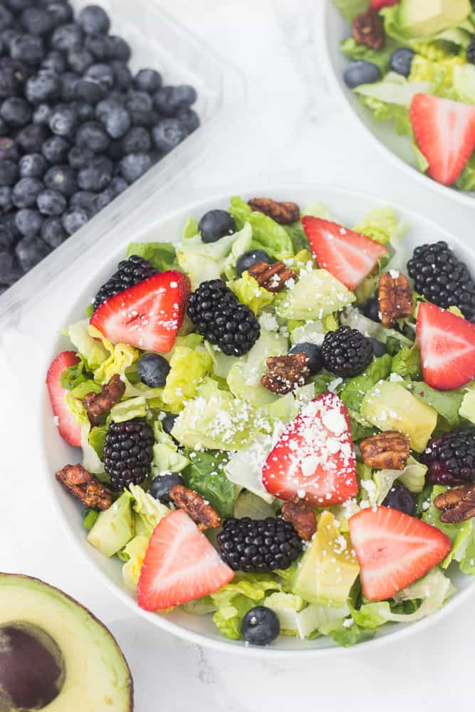 This berry salad is so good for an appetizer OR a main dish if you add grilled chicken!