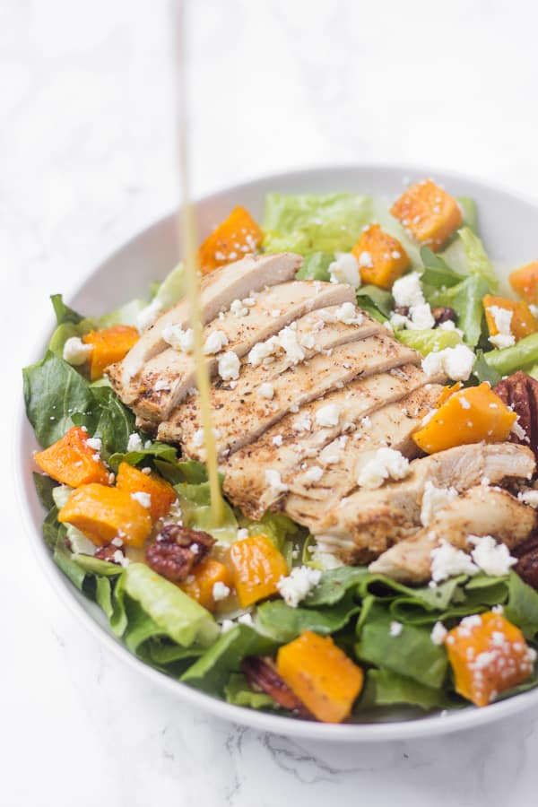 This hearty butternut squash chicken salad has candied nuts, feta cheese, and a zesty lemon poppyseed dressing for a really satisfying main course!