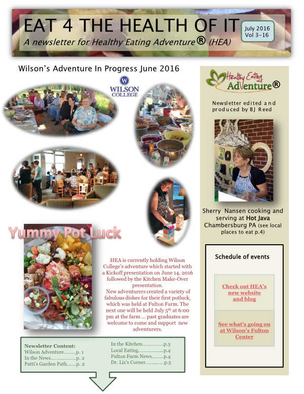 healthy eating adventure july 2016 newsletter