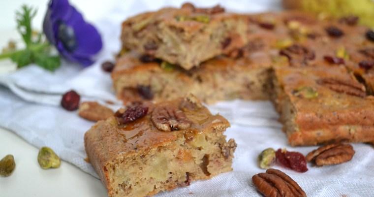 Gâteau aux poires, pécan, pistaches et cramberries
