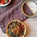 Savory tart, mushroom and spinach tart