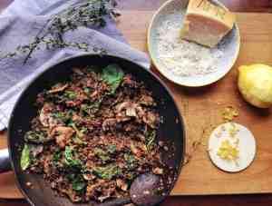 spinach mushroom quinotto