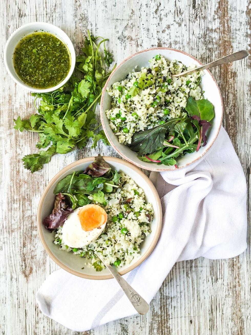 cauliflower couscous green salad