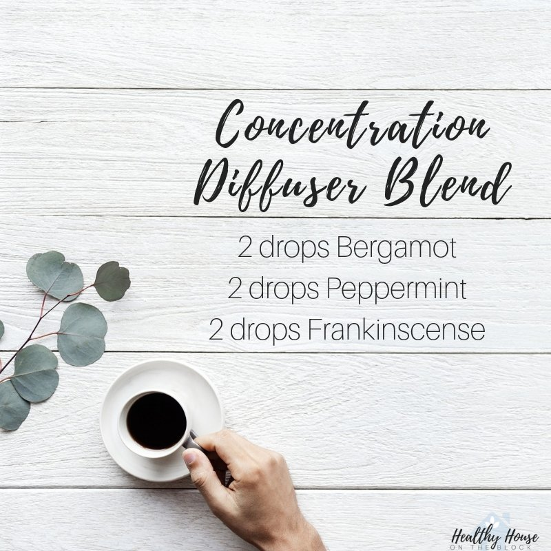 Concentration difuser blend with bergamot, peppermint essentail oil and frankincense essential oil