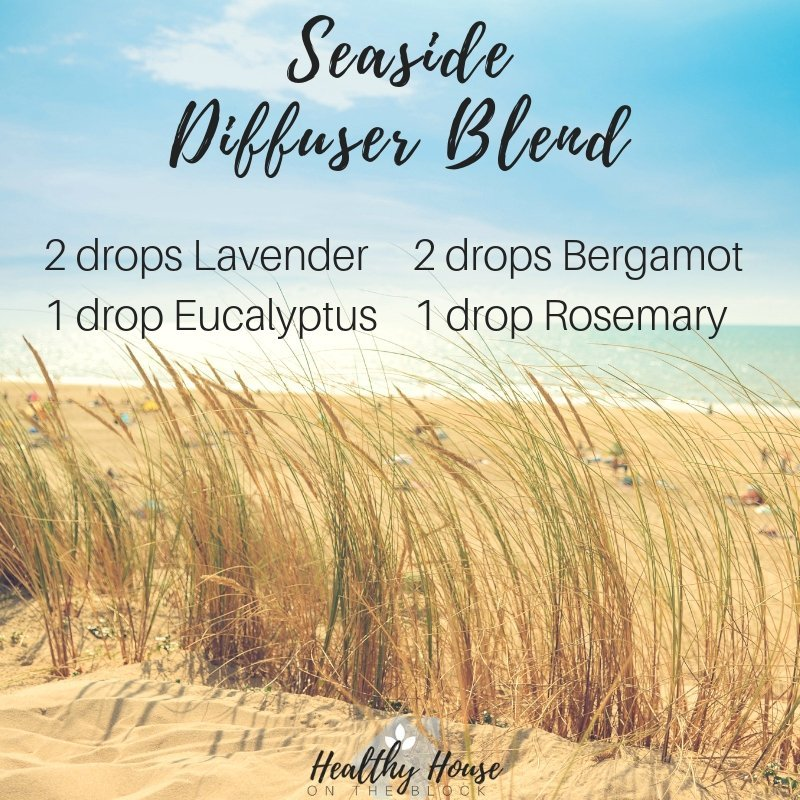 seaside diffuser blend with laveder essential oil, eucalyptus essential oil, bergamot essential oil, rosemary essential oil