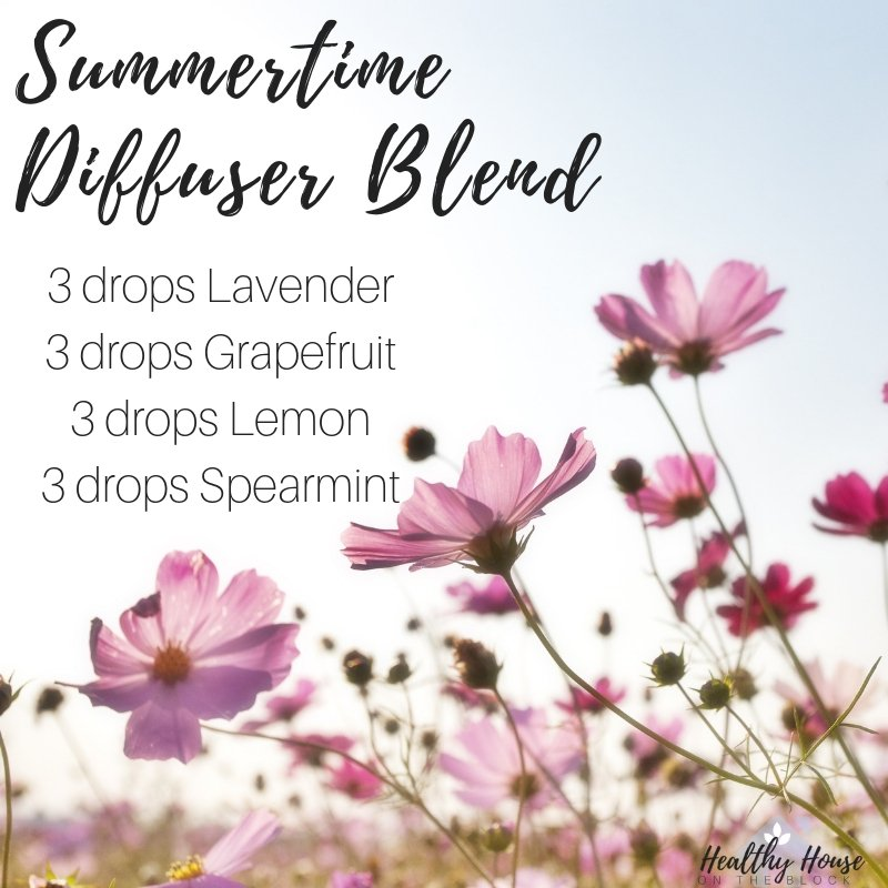summertime diffuser blend with lavender essential oil, grapefruit essential oil, lemon essential oil and spearmint essential oil