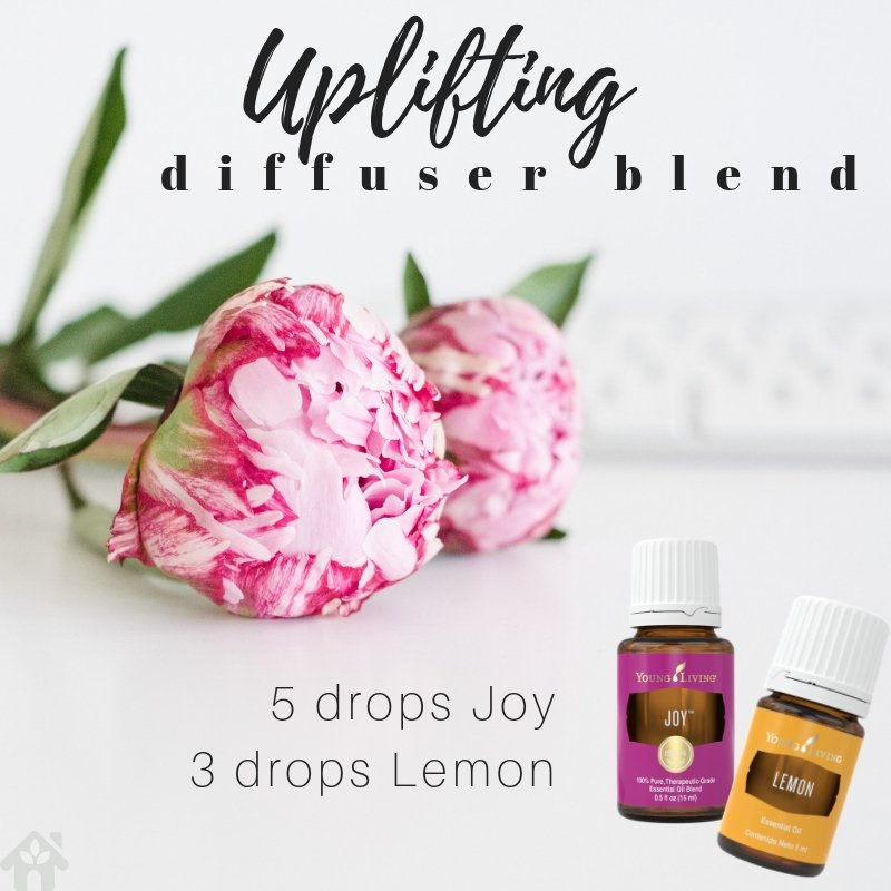 uplifting diffuser blend with joy essential oil and lemon essential oil
