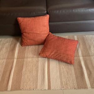 hand woven loomed rug in cotton
