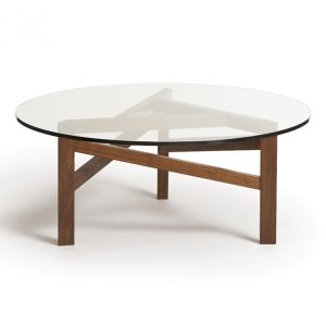 Glide Planes Walnut Round Glass Top Coffee Table