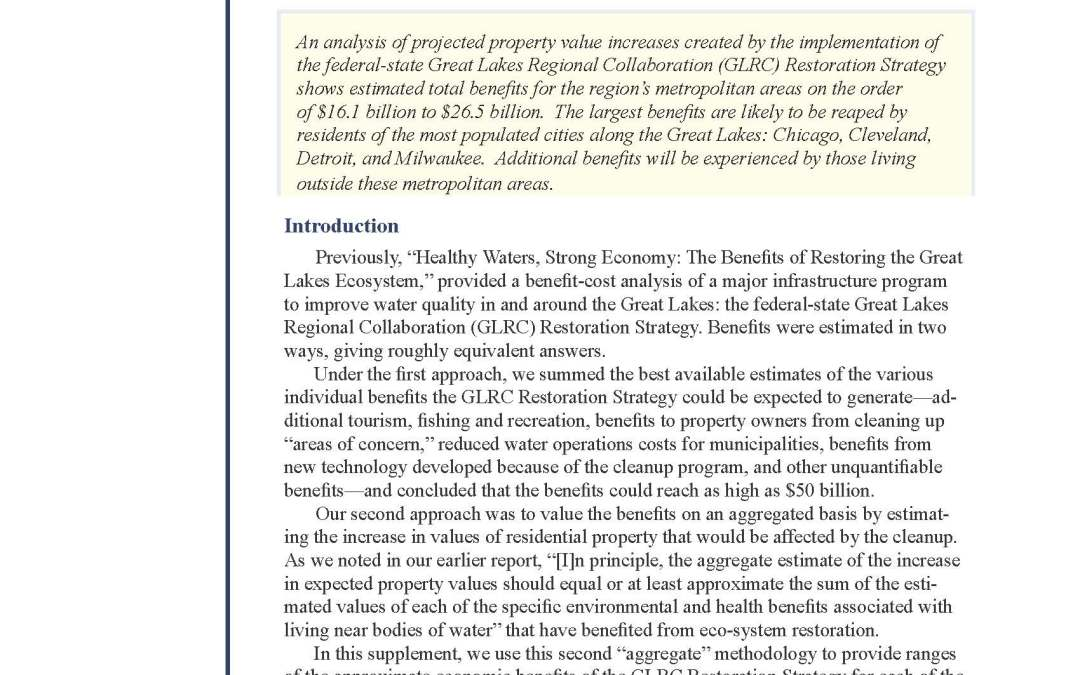 Place-Specific Benefits of Great Lakes Restoration: A Supplement to the 'Healthy Waters' Report