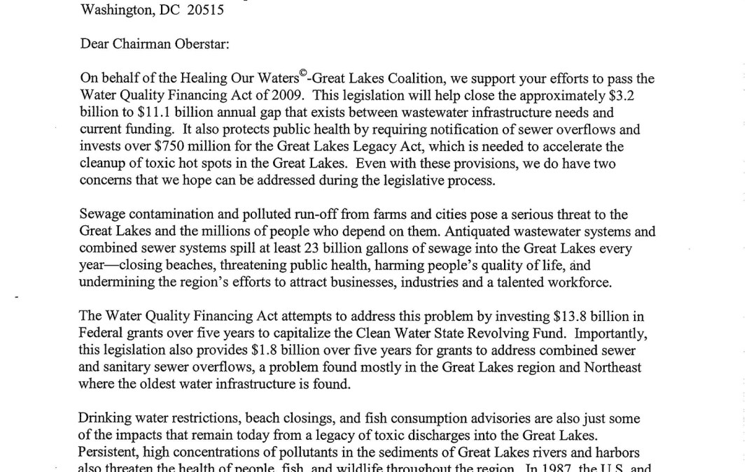 Coalition to Transportation and Infrastructure Committee Regarding the Water Quality Financing Act