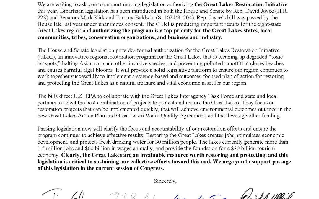 Coalition and Others to Speaker and Majority Leader Regarding the Great Lakes Restoration Initiative