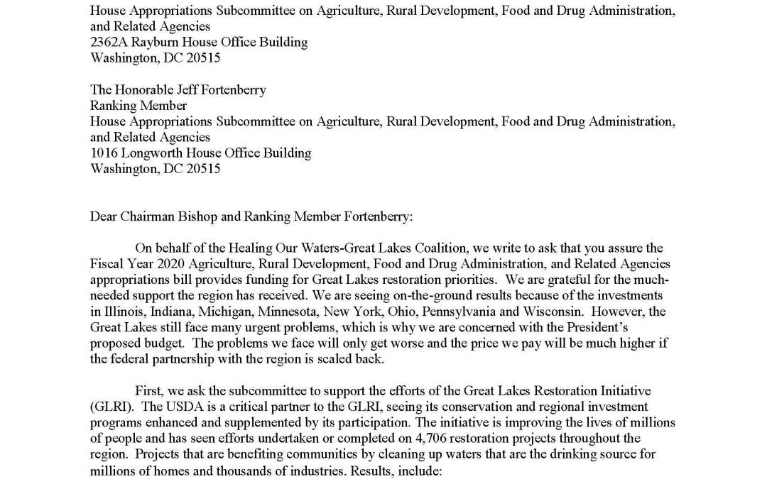 Coalition to House Appropriators Regarding Agriculture and Related Agencies Budget