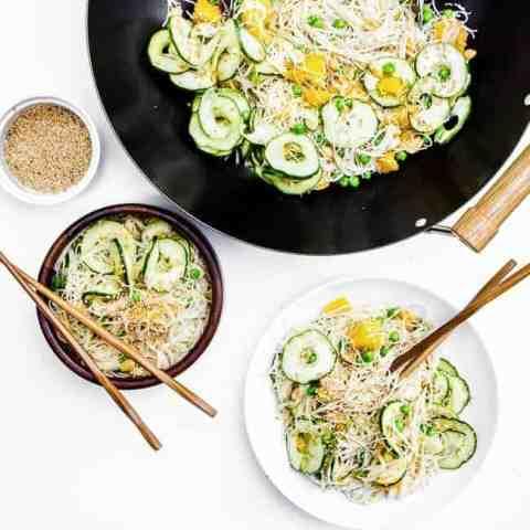 Cucumber Mango Miso Noodle Bowls