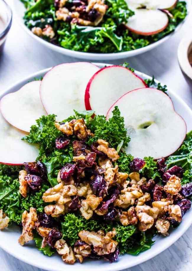 kale salad with warm apple cinnamon balsamic