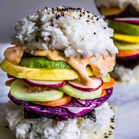 rainbow sushi burgers