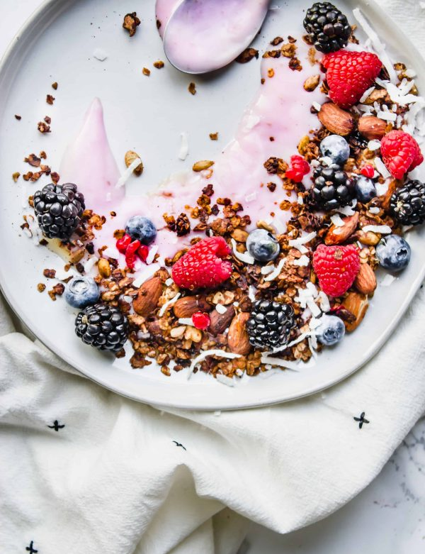 Vegan Berry Yogurt Parfait with Fresh Berries and Gluten Free Homemade Granola