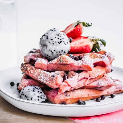 gluten free, vegan pink dragonfruit chocolate chip waffles for Valentine's Day