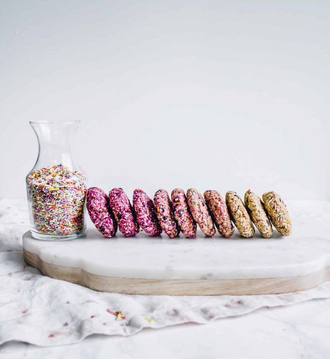 no-bake gluten free, vegan ombre funfetti cookies with only ten ingredients . This healthy dessert recipe is made in only 15 minutes and is naturally sweetened