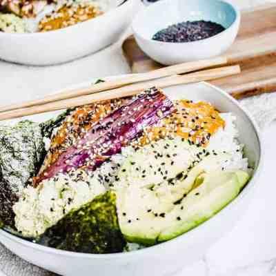 miso eggplant sushi bowls