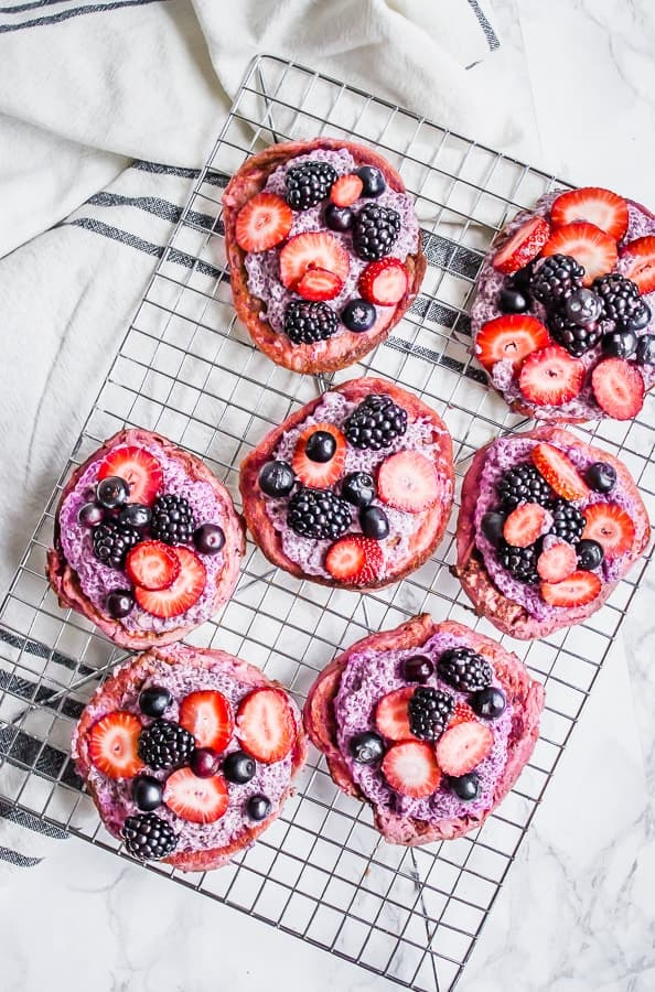 pink pancakes with chia pudding and fresh berries