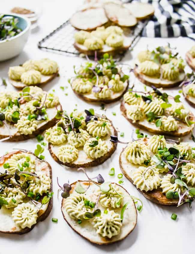 baked potato rounds with edamame hummus