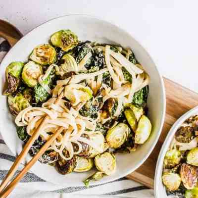 kale and brussels miso mustard noodle bowls