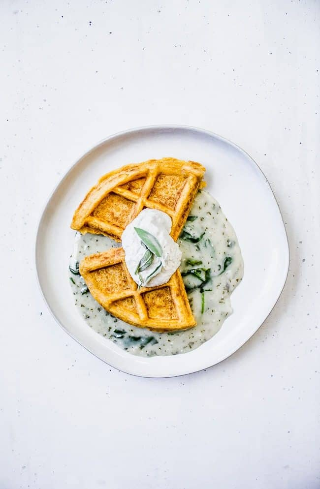 Savory Sweet Potato Waffles with Sage Butter Gravy