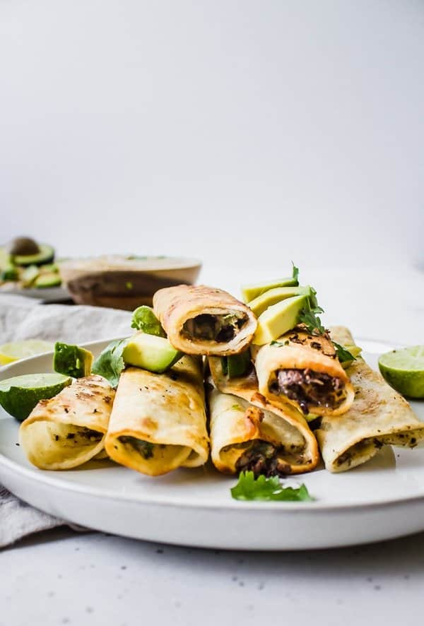 spinach and mushroom taquitos