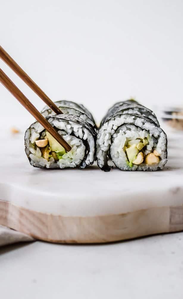avocado + peanut sushi