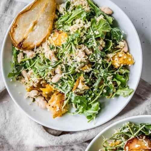 Roasted Squash + Pear Arugula Salad