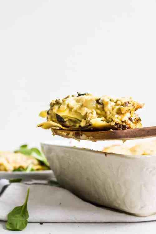 sausage, onion, mushroom breakfast lasagna