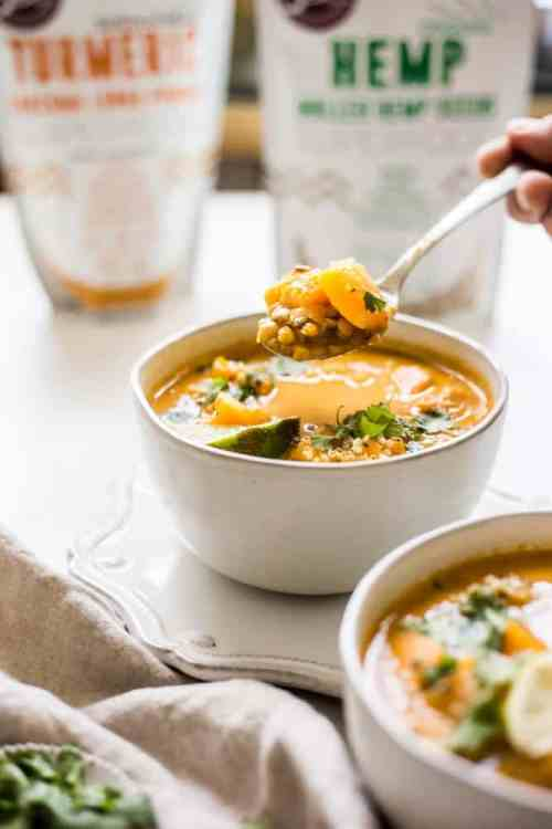curried butternut squash and lentil soup